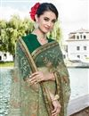 photo of Net Fabric Cream Festive Wear Beatific Saree With Embroidery Work