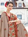 photo of Excellent Dark Beige Art Silk Designer Saree With Embroidery