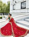 photo of Beguiling Embroidery On Art Silk Red Color Party Style Saree