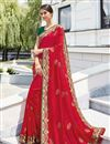 image of Beguiling Embroidery On Art Silk Red Color Party Style Saree