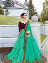 photo of Tempting Cyan Georgette Fabric Function Wear Saree With Embroidery