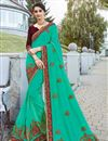 image of Tempting Cyan Georgette Fabric Function Wear Saree With Embroidery
