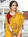 photo of Mustard Art Silk Festive Wear Saree With Embroidery