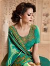photo of Embroidered Border And Blouse With Art Silk Fabric Party Wear Saree In Dark Cyan Color