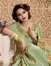 photo of Art Silk Embellished Saree With Fancy Border In Green