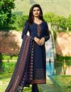image of Prachi Desai Designer Party Wear Navy Blue Crepe Fabric Embroidered Salwar Suit