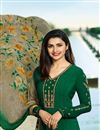 photo of Prachi Desai Party Wear Dark Green Crepe Fabric Straight Cut Embroidered Churidar Salwar Suit