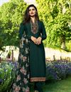image of Prachi Desai Designer Dark Grey Crepe Fabric Fancy Straight Cut Embellished Churidar Dress