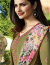 photo of Prachi Desai Fancy Khaki Color Crepe Fabric Straight Cut Embroidered Churidar Salwar Kameez