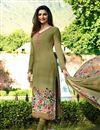 image of Prachi Desai Fancy Khaki Color Crepe Fabric Straight Cut Embroidered Churidar Salwar Kameez