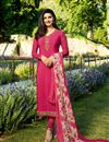 image of Prachi Desai Festive Wear Designer Crimson Color Crepe Fabric Embroidered Salwar Suit