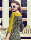 photo of Printed Work On Grey Rayon Casual Wear Readymade Kurti