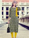image of Printed Work On Grey Rayon Casual Wear Readymade Kurti