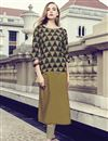 image of Casual Wear Printed Rayon Fabric Readymade Kurti In Cream Color