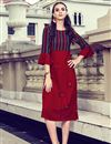 image of Maroon Color Designer Readymade Kurti In Rayon Fabric