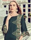 photo of Casual Wear Printed Rayon Fabric Readymade Kurti In Dark Green Color