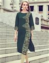 image of Casual Wear Printed Rayon Fabric Readymade Kurti In Dark Green Color