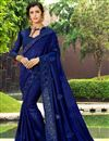 image of Art Silk Party Style Navy Blue Embellished Fancy Saree