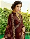 photo of Brown Party Style Chiffon Fabric Embellished Fancy Saree