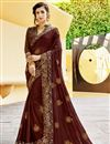 image of Brown Party Style Chiffon Fabric Embellished Fancy Saree