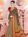 image of Casual Style Printed Cream Saree In Cotton Silk Fabric