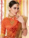 photo of Printed Office Party Wear Orange Saree In Cotton Silk Fabric
