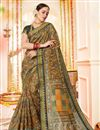 image of Multi Color Printed Casual Style Saree In Cotton Silk Fabric
