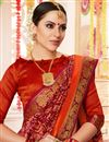 photo of Red Printed Cotton Silk Fabric Casual Festive Wear Saree