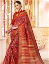 image of Red Printed Cotton Silk Fabric Casual Festive Wear Saree