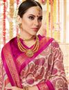 photo of Casual Festive Wear Printed Saree In Pink Cotton Silk Fabric