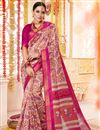 image of Casual Festive Wear Printed Saree In Pink Cotton Silk Fabric