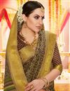 photo of Printed Office Party Wear Cotton Silk Fabric Saree In Brown