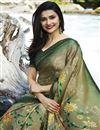 photo of Prachi Desai Dark Beige Georgette Printed Designer Saree