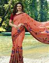 image of Prachi Desai Georgette Salmon Party Wear Printed Saree