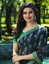 photo of Prachi Desai Georgette Black Party Wear Printed Saree