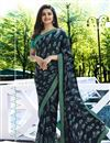 image of Prachi Desai Georgette Black Party Wear Printed Saree