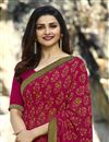 photo of Prachi Desai Georgette Dark Pink Daily Wear Printed Saree