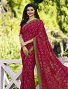 image of Prachi Desai Georgette Dark Pink Daily Wear Printed Saree
