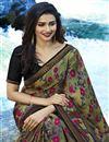 photo of Prachi Desai Casual Wear Printed Saree In Dark Khaki Georgette