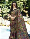 image of Prachi Desai Casual Wear Printed Saree In Dark Khaki Georgette
