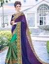 image of Art Silk Fabric Party Wear Embroidered Saree In Teal