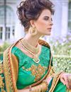 photo of Art Silk Teal Party Wear Saree With Embroidered Designs