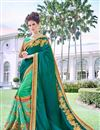 image of Art Silk Teal Party Wear Saree With Embroidered Designs