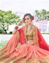 photo of Peach Embroidery Designs On Georgette Occasion Wear Saree