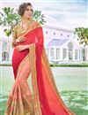 image of Embroidery Work On Peach Designer Saree In Georgette Fabric