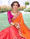 photo of Orange Art Silk Fabric Occasion Wear Saree With Embroidery Work