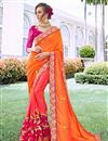 image of Orange Art Silk Fabric Occasion Wear Saree With Embroidery Work