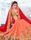 photo of Chiffon Party Wear Saree In Salmon With Embroidery Work