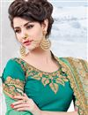 photo of Cyan Designer Embroidered Saree In Chiffon Fabric