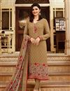 image of Prachi Desai Straight Cut Embroidered Salwar Suit In Crepe